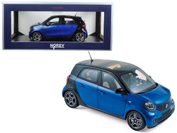 2015 Smart Forfour Black and Blue 1/18 Diecast Model Car by Norev