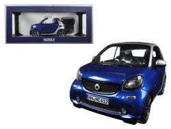 2015 Smart Fortwo Cabrio Blue and Silver 1/18 Diecast Model Car by Norev