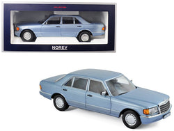 1991 Mercedes Benz 560 SEL Pearl Blue Metallic 1/18 Diecast Model Car by Norev