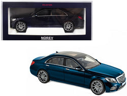 2018 Mercedes Benz S Class AMG Line with Sunroof Metallic Dark Blue 1/18 Diecast Model Car by Norev