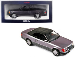 1990 Mercedes Benz 300 CE-24 Cabriolet Metallic Purple 1/18 Diecast Model Car by Norev