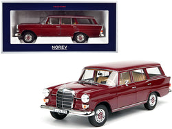 1966 Mercedes Benz 200 Wagon Universal Dark Red 1/18 Diecast Model Car by Norev
