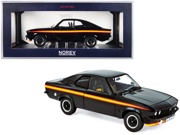 "1975 Opel Manta GT/E ""Black Magic"" Black with Stripes 1/18 Diecast Model Car by Norev"