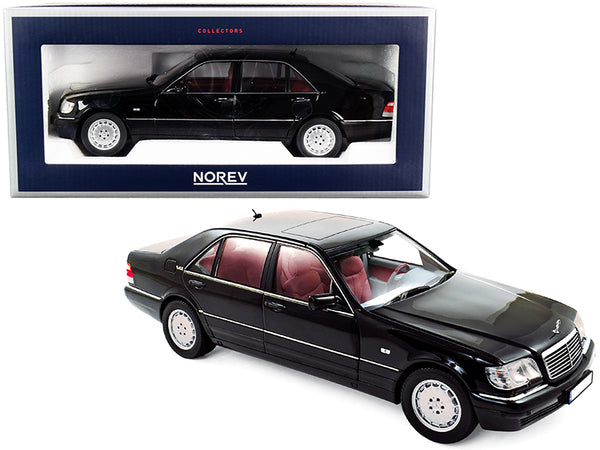 1997 Mercedes Benz S600 Black with Red Interior 1/18 Diecast Model Car by Norev
