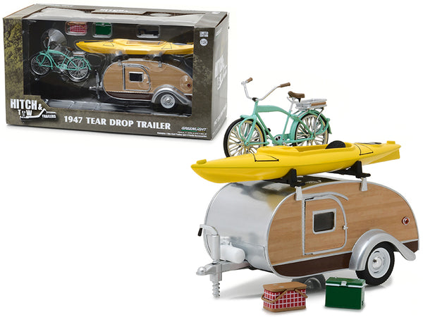 "1947 Ken Skill Tear Drop Trailer with Accessories ""Hitch & Tow Trailers"" Series #3 for 1/24 Scale Models by Greenlight"