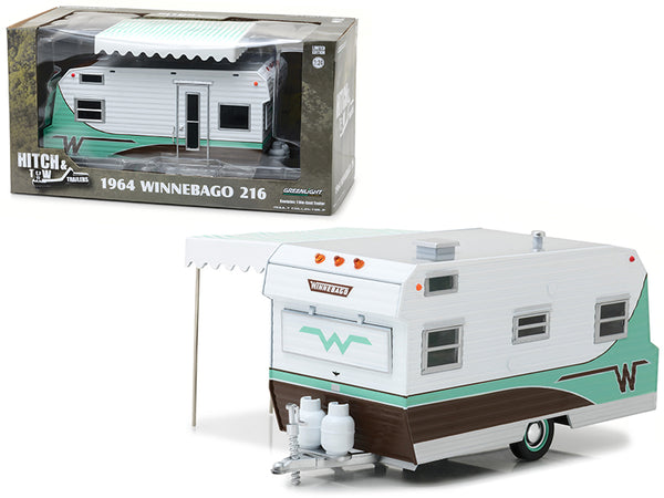 "1964 Winnebago 216 Travel Trailer Green ""Hitch & Tow Trailers"" Series #3 for 1/24 Scale Diecast Models by Greenlight"