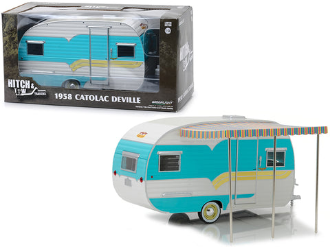 "1958 Catolac DeVille Travel Trailer Blue and Cream ""Hitch & Tow Trailers"" Series #5 for 1/24 Diecast Models by Greenlight"