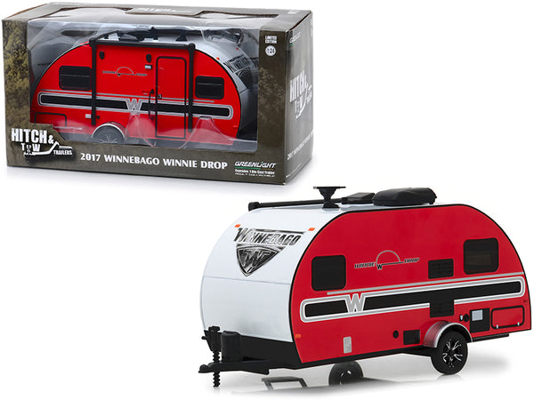 "2017 Winnebago Winnie Drop Travel Trailer Red with White Top ""Hitch & Tow Trailers"" Series #5 1/24 Diecast Model by Greenlight"