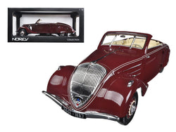 1937 Peugeot Eclipse 402 Dark Red With Retractable Top 1/18 Diecast Model Car by Norev