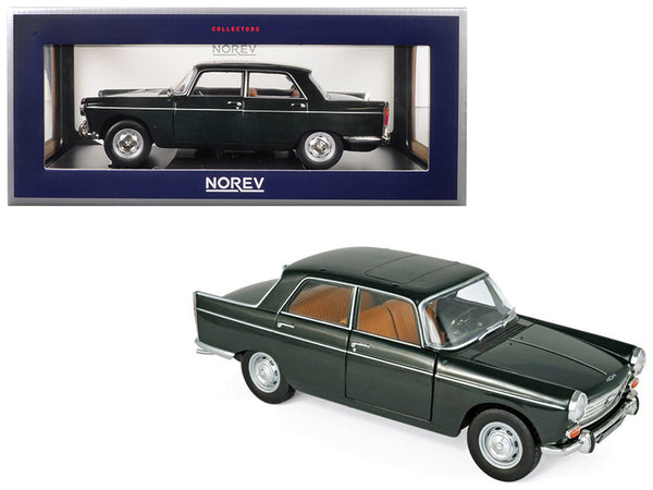 1965 Peugeot 404 Antique Green 1/18 Diecast Model Car by Norev