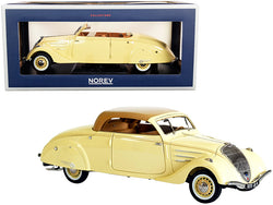 1937 Peugeot 402 Eclipse Convertible Cream with Caramel Brown Top 1/18 Diecast Model Car by Norev