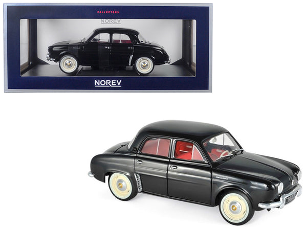 1958 Renault Dauphine Black with Red Interior 1/18 Diecast Model Car by Norev