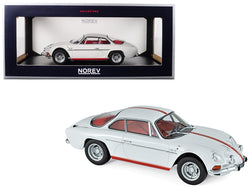 1971 Renault Alpine A110 1600S White with Red Stripes 1/18 Diecast Model Car by Norev