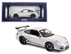 2010 Porsche 911 GT3 RS White and Black Trim 1/18 Diecast Model Car by Norev