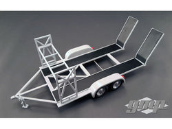 Tandem Car Trailer with Tire Rack Grey 1/18 Diecast Model by GMP