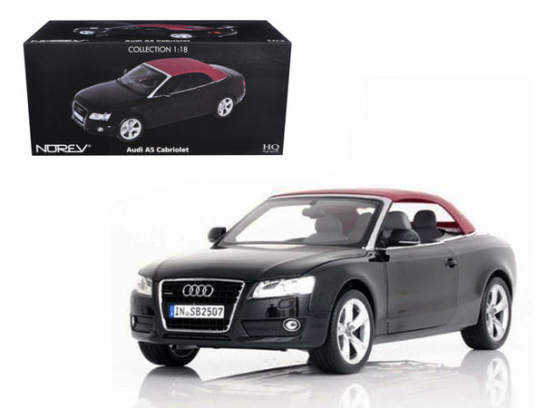 2009 Audi A5 Convertible Brilliant Black 1/18 Diecast Model Car by Norev