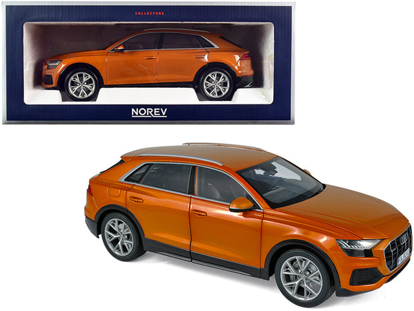 2018 Audi Q8 Orange Metallic 1/18 Diecast Model Car by Norev