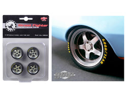 "1968 ""Gulf Oil"" Chevrolet Camaro Street Fighter Good Year Competition Tires 5 Spoke with Polished Lip Wheels and Tires (Set of 4) 1/18 Diecast by GMP"