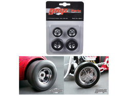 Chromed Hot Rod Drag Wheels and Tires (Set of 4) 1/18 Diecast by GMP
