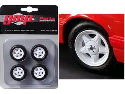 Pony Wheels and Tires (Set of 4) from a 1992 Ford Mustang LX 1/18 Diecast Model by GMP