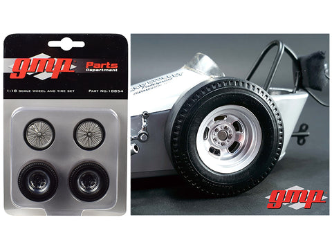 "Vintage Dragster Wheels and Tires (Set of 4) from ""The Chizler V"" Vintage Dragster 1/18 Diecast by GMP"