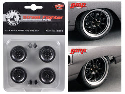 "1970 Plymouth Road Runner ""The Hummer"" 10 Spoke Street Fighter Wheels and Tires (Set of 4) 1/18 Diecast by GMP"