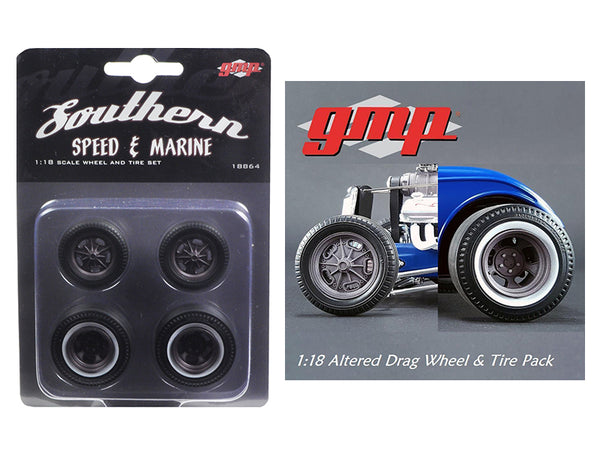 Drag Wheels and Tires (Set of 4) Magnesium Finish from 1934 Altered Drag Coupe 1/18 Diecast by GMP