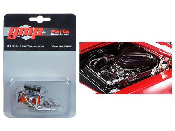 Trans Am 302 Engine and Transmission Replica from 1967 Chevrolet Camaro Z/28 Chevy-Land Heinrich 1/18 Diecast Model by GMP