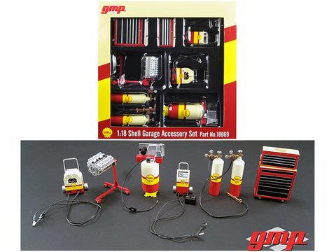 "6 Piece Shop Tools Set ""Shell Oil"" 1/18 Diecast Replica by GMP"