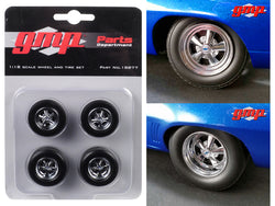 Wheels and Tires Set of 4 pieces from 1969 Chevrolet Camaro 1320 Drag Kings 1/18 by GMP