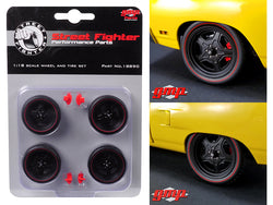 5-Spoke Wheel and Tire (Set of 4) from 1970 Plymouth Road Runner Street Fighter 6-Pack Attack 1/18 Diecast by GMP