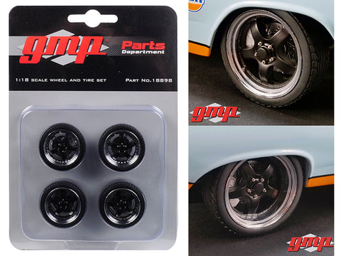 "5-Spoke Wheel and Tire (4 Piece Set) from 1966 Ford Fairlane Street Fighter ""Gulf Oil"" 1/18 by GMP"
