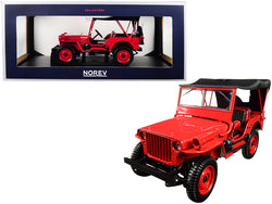 1942 Jeep Red 1/18 Diecast Model Car by Norev