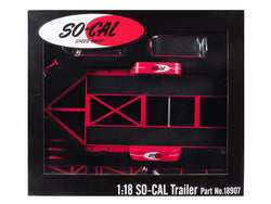 "Tandem Car Trailer with Tire Rack ""So-Cal Speed Shop"" Red Limited Edition to 996 pieces Worldwide 1/18 Diecast Model by GMP"