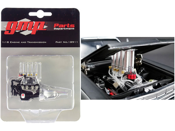 "Injected 427 Engine and Transmission Replica from ""Pork Chop's 1966 Ford Fairlane"" 1/18 Model by GMP"