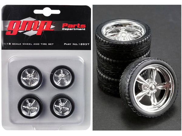 5-Spoke Chrome Custom Street Fighter Wheels and Tires (Set of 4) 1/18 by GMP