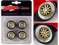 """Big Red"" Pro Touring Wheels and Tires Set (4 Piece Set) from a ""1969 Chevrolet Big Red Camaro"" 1/18 Scale by GMP"