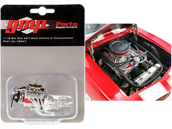 """Big Red"" 427 Race Engine and Transmission Replica from a ""1969 Chevrolet Big Red Camaro"" 1/18 Scale by GMP"
