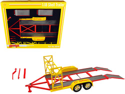"Tandem Car Trailer with Tire Rack ""Shell Oil"" Yellow 1/18 Diecast Model by GMP"