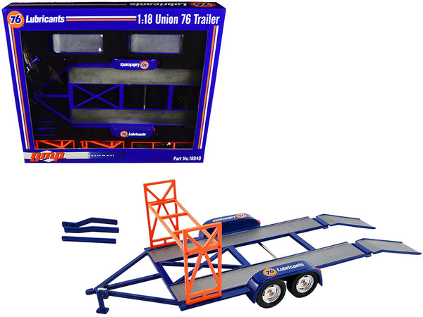 "Tandem Car Trailer with Tire Rack ""Union 76"" Blue 1/18 Diecast Model by GMP"