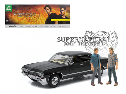 "1967 Chevrolet Impala Sport Sedan with Sam and Dean Figures ""Supernatural"" (TV Series 2005) 1/18 Diecast Model Car by Greenlight"