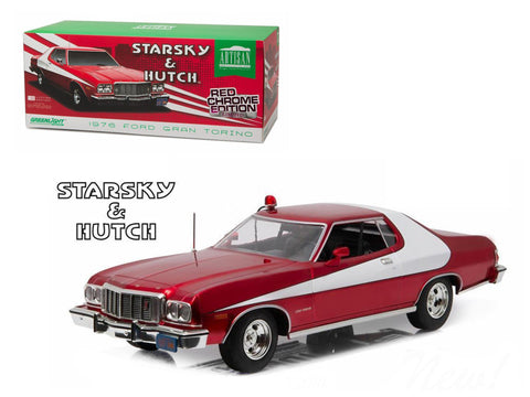 "1976 Ford Gran Torino ""Starsky and Hutch"" Red Chrome Edition (TV Series 1975-79) 1/18 Diecast Model Car by Greenlight"