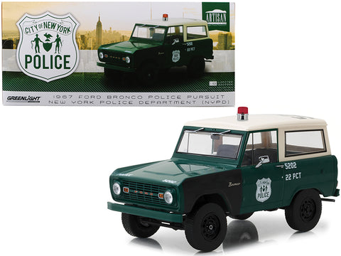 1967 Ford Bronco Police Pursuit New York City Police Department (NYPD) Green with Cream Top 1/18 Diecast Model Car by Greenlight