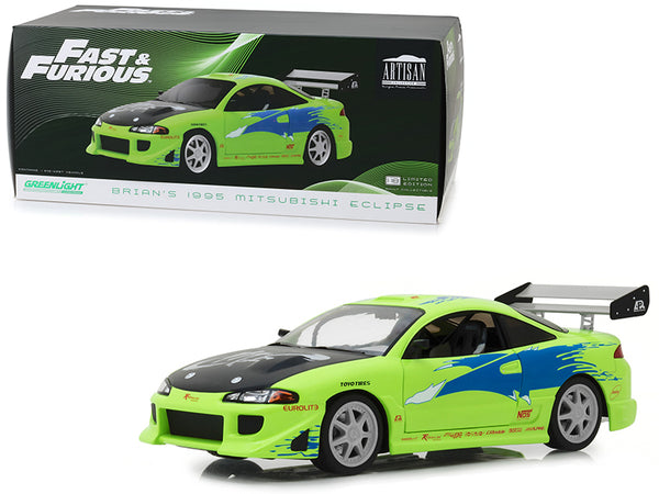 "Brian's 1995 Mitsubishi Eclipse ""The Fast and the Furious"" (2001) Movie 1/18 Diecast Model Car  by Greenlight"