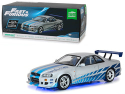 "Brian's 1999 Nissan Skyline GT-R (BNR34) with Working Led Ground Effects ""Fast & Furious: 2 Fast 2 Furious"" (2003) Movie 1/18 Diecast Model Car by Greenlight"