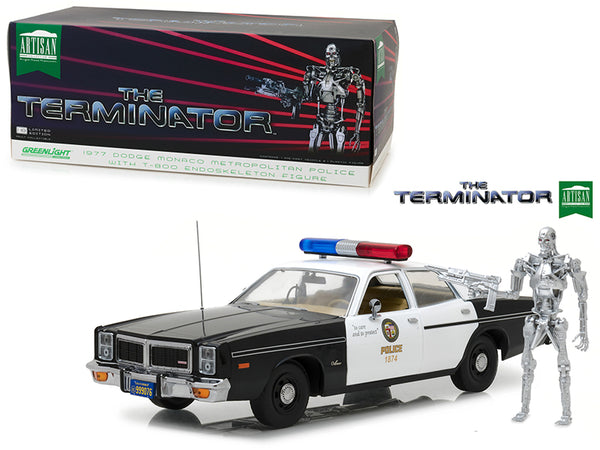 "1977 Dodge Monaco Metropolitan Police with T-800 Endoskeleton Figure ""The Terminator"" (1984) Movie 1/18 Diecast Model by Greenlight"