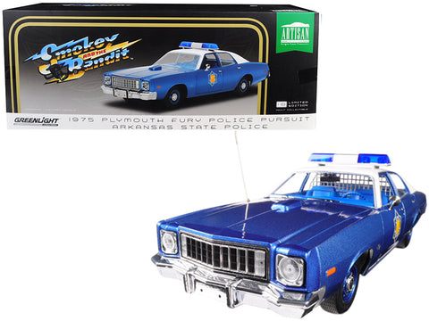 "1975 Plymouth Fury Police Pursuit Arkansas State Police ""Smokey and The Bandit"" (1977) Movie 1/18 Diecast Model Car by Greenlight"