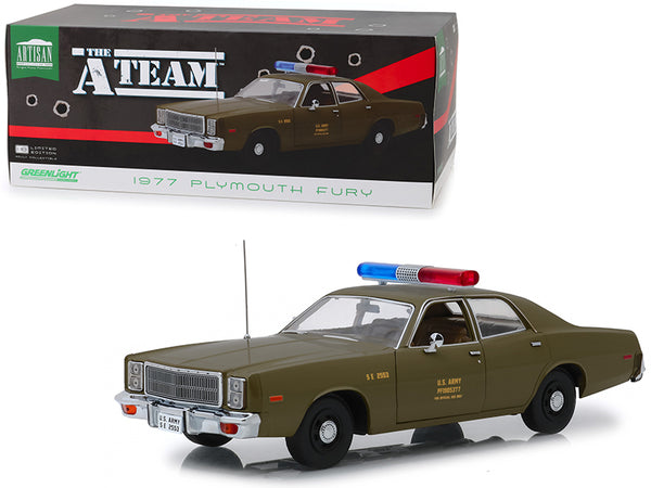 "1977 Plymouth Fury U.S. Army MP Army Green ""The A-Team"" (1983-1987) TV Series 1/18 Diecast Model Car by Greenlight"