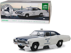 "1967 Chevrolet Biscayne Cream and Blue ""New York State Police"" 1/18 Diecast Model Car by Greenlight"