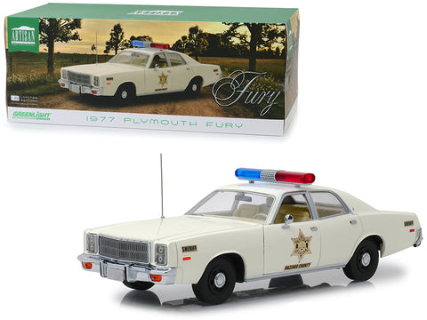 "1977 Plymouth Fury ""Hazzard County Sheriff"" Cream 1/18 Diecast Model Car by Greenlight"